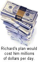 Richards' plan would cost him millions of dollars per day.